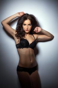 Gorgeous model advertises trendy lacy lingerie